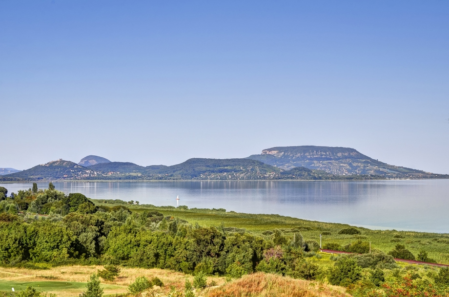 The view over beautiful Lake Balatonfured in Hungary, site of the World ICF SUP Championships.
